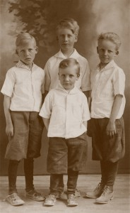 Four Oldest Sons of George and Lucile Black in 1915. Evan is in the center front. In the back row, beginning on Evan's right are Elmer, Joe, and Elliot